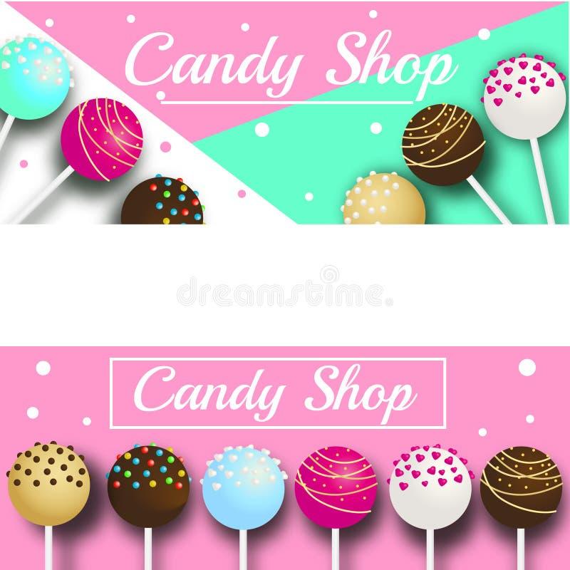糖果与蛋糕流行音乐的商店横幅 在现实样式的传染媒介例证糖果店的,广告,面包店,棒棒糖 库存例证
