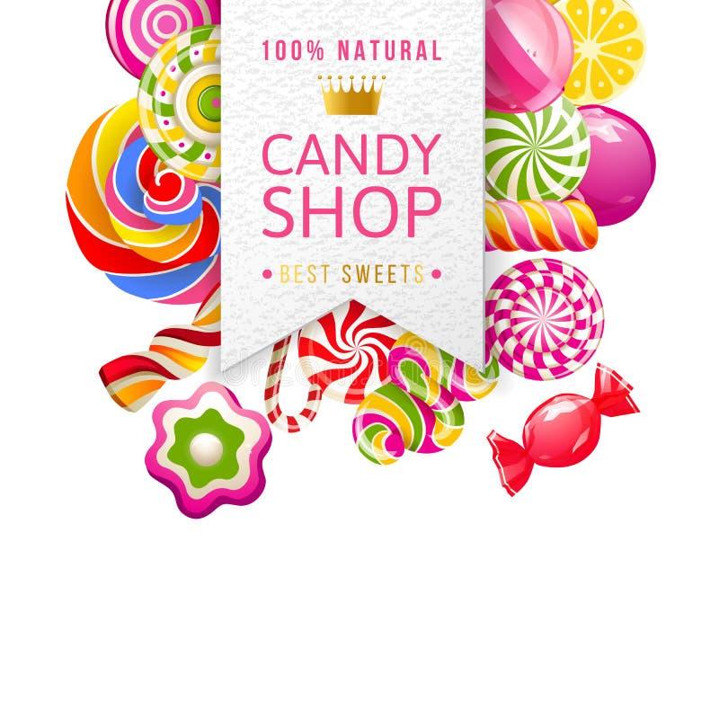 糖果与类型设计和糖果的商店标签 皇族释放例证