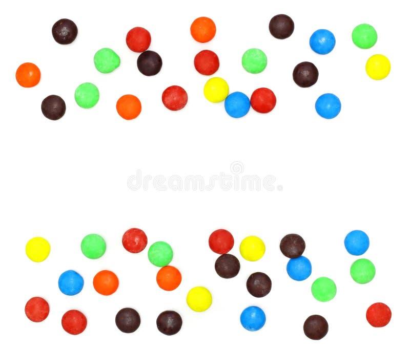 糖果五颜六色的批次分布白色 库存照片