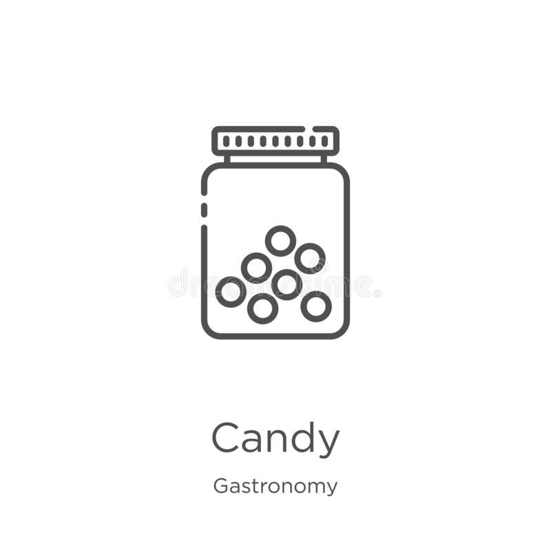 糖果从美食术汇集的象传染媒介 稀薄的线糖果概述象传染媒介例证 概述,稀薄的线糖果象为 向量例证