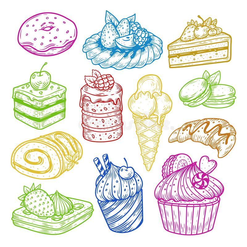 糖果剪影、酥皮点心和面包店蛋糕 库存例证