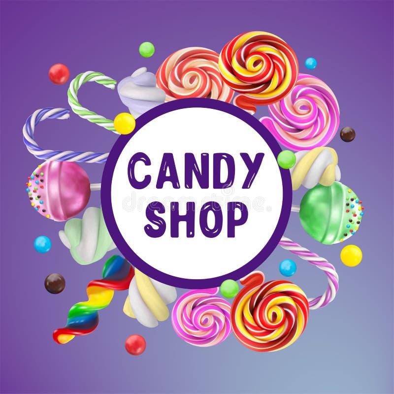糖果商店海报 与甜点-棒棒糖, h的五颜六色的背景 向量例证