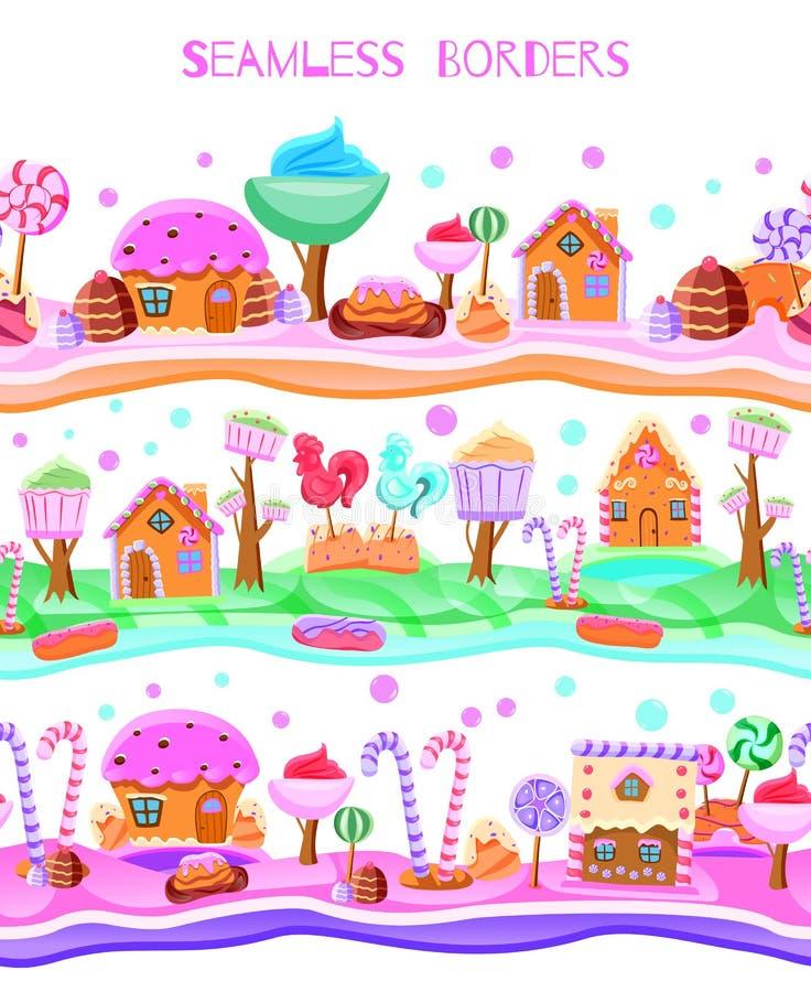 糖果土地平的无缝的边界 库存例证