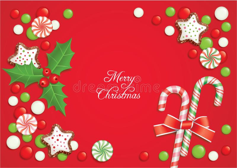 糖果圣诞节明信片 向量例证