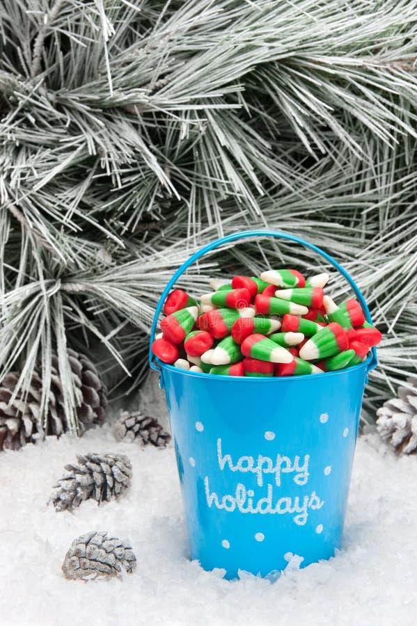 糖果圣诞节装饰桶 免版税库存图片