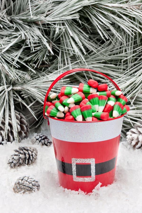 糖果圣诞节装饰桶 免版税库存照片