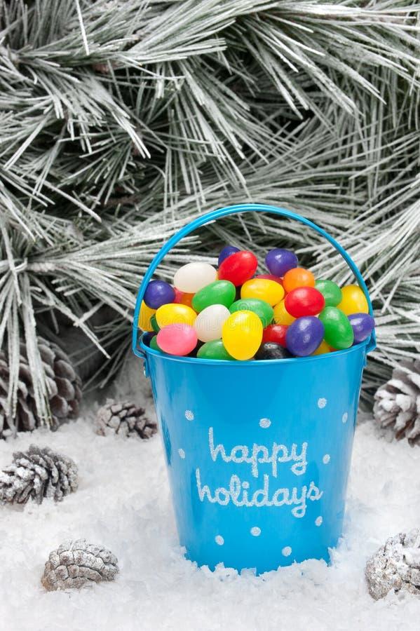 糖果圣诞节装饰桶 库存图片