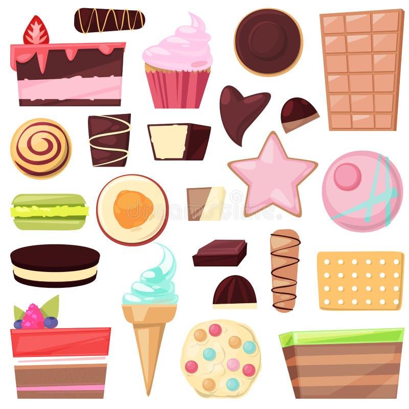 糖果店甜巧克力糖果和甜混合药剂点心在配制的蛋糕的candyshop例证或 库存例证