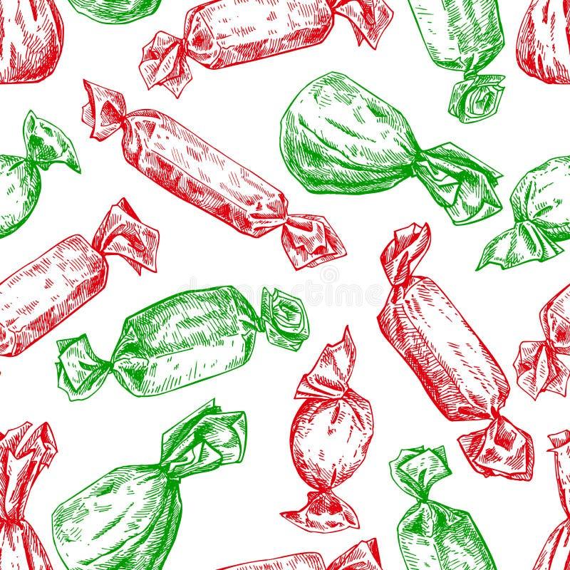 糖果无缝的样式在手中被画的样式 传染媒介后面 皇族释放例证