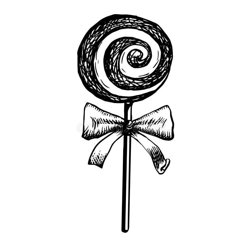糖果棒棒糖剪影 乱画漩涡糖果的传染媒介例证在扭转的设计的被隔绝的 库存例证