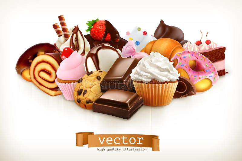 糖果 巧克力、蛋糕、杯形蛋糕和油炸圈饼 也corel凹道例证向量 皇族释放例证