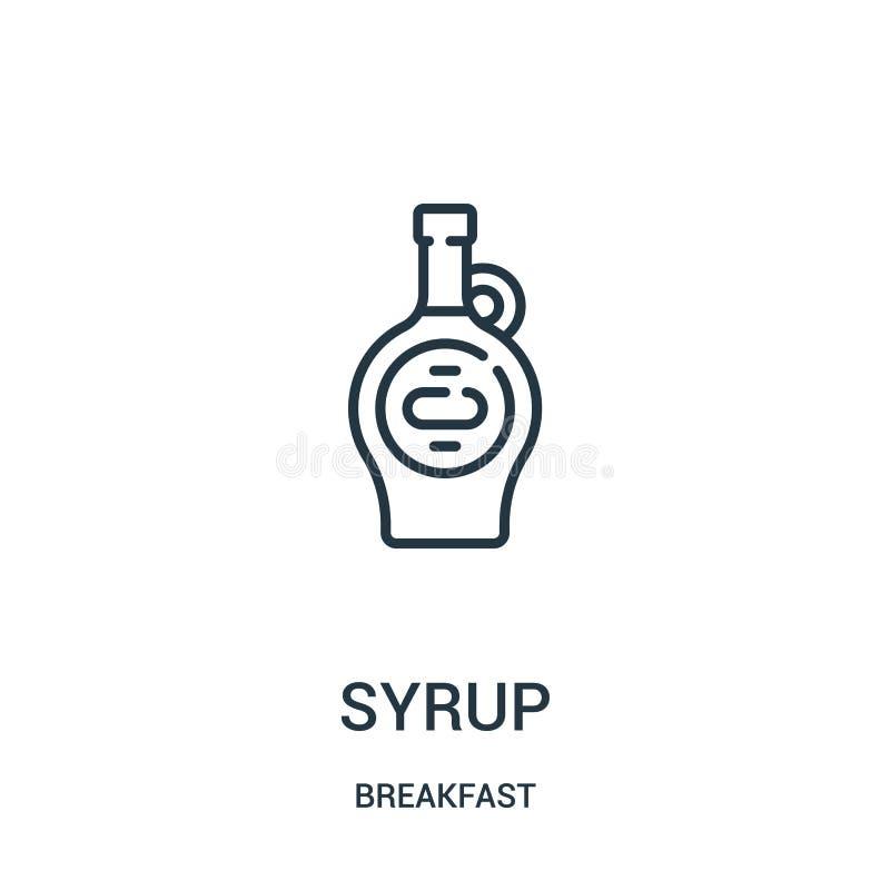 糖浆从早餐汇集的象传染媒介 稀薄的线糖浆概述象传染媒介例证 线性标志为在网的使用和 皇族释放例证