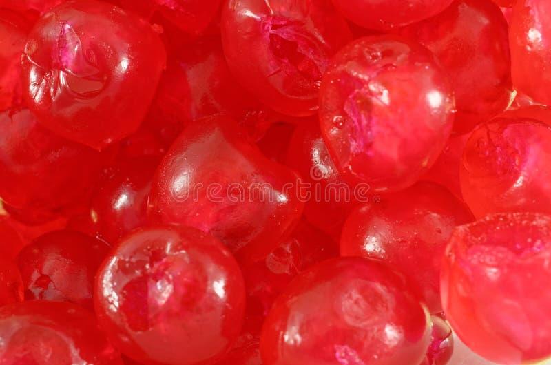 糖渍的樱桃特写镜头  库存图片