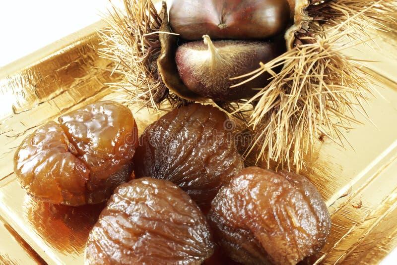 糖渍的水平的marron 免版税库存照片
