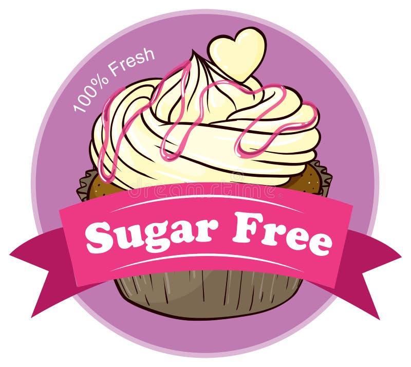 糖自由标签用一块可口杯形蛋糕 向量例证