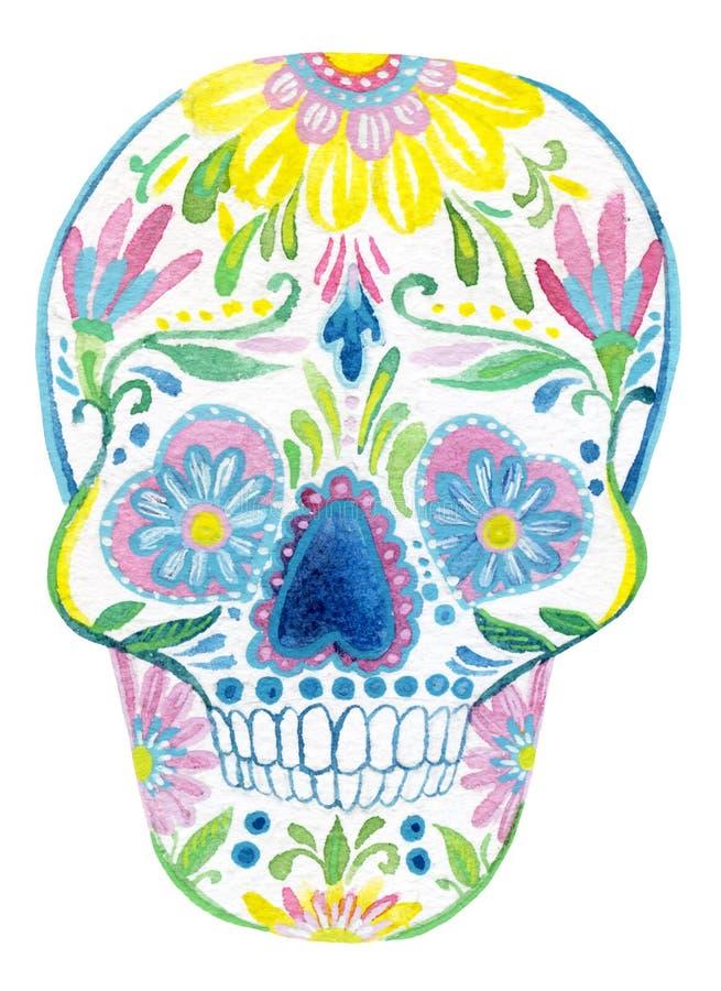 糖头骨绘画 向量例证