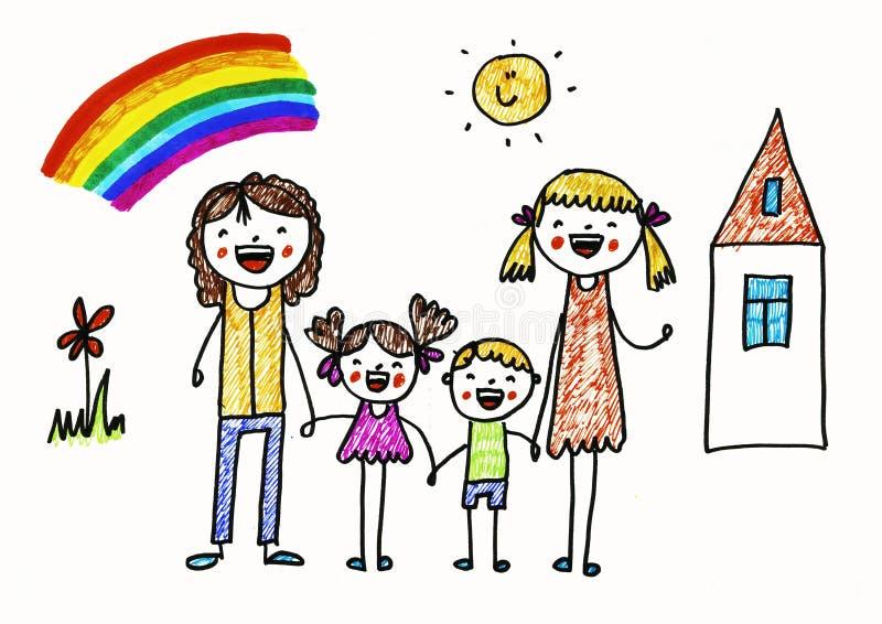 系列快乐愉快 女同性恋的妇女被领养的女孩和男孩 爱和幼儿园孩子 向量例证