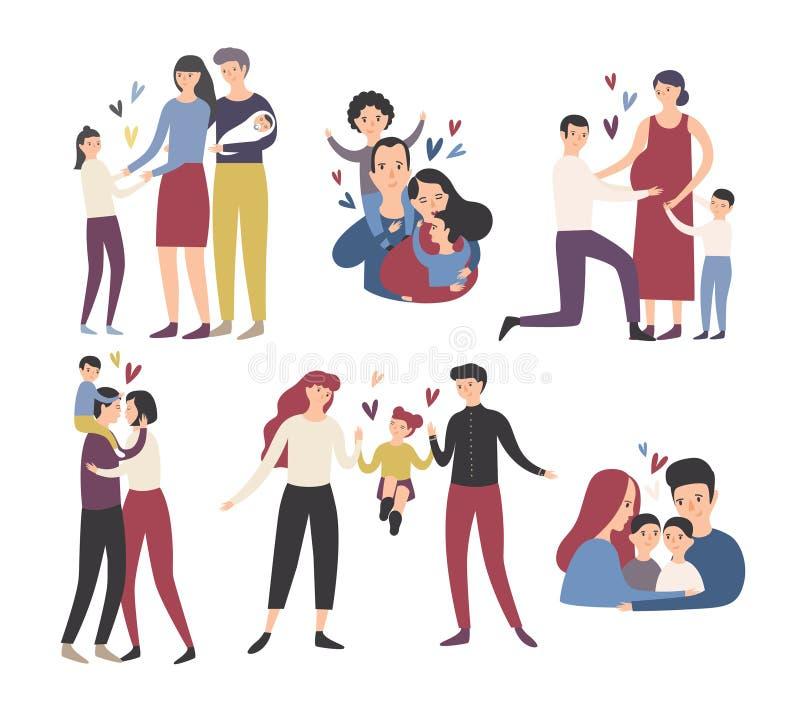 系列愉快爱 母亲、微笑的父亲和的孩子,拥抱,亲吻和使用 汇集的逗人喜爱和滑稽 库存例证