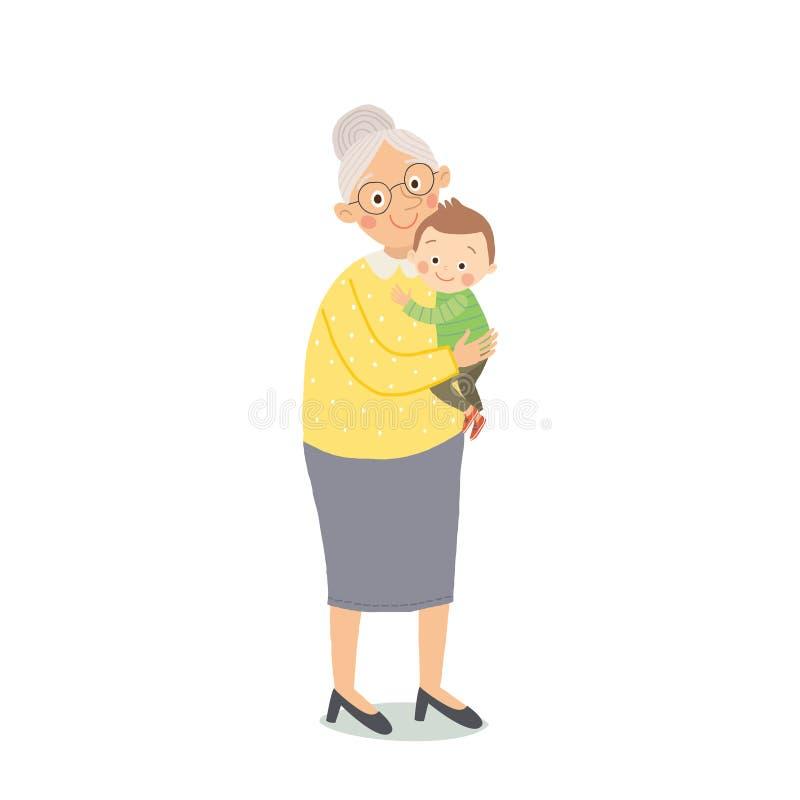 系列愉快的纵向 祖母和孙子身分 动画片传染媒介手拉的eps 10儿童的例证 向量例证