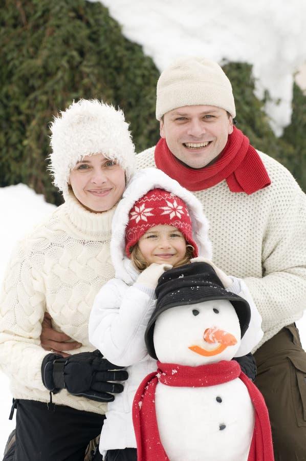 系列愉快的雪人 免版税库存照片