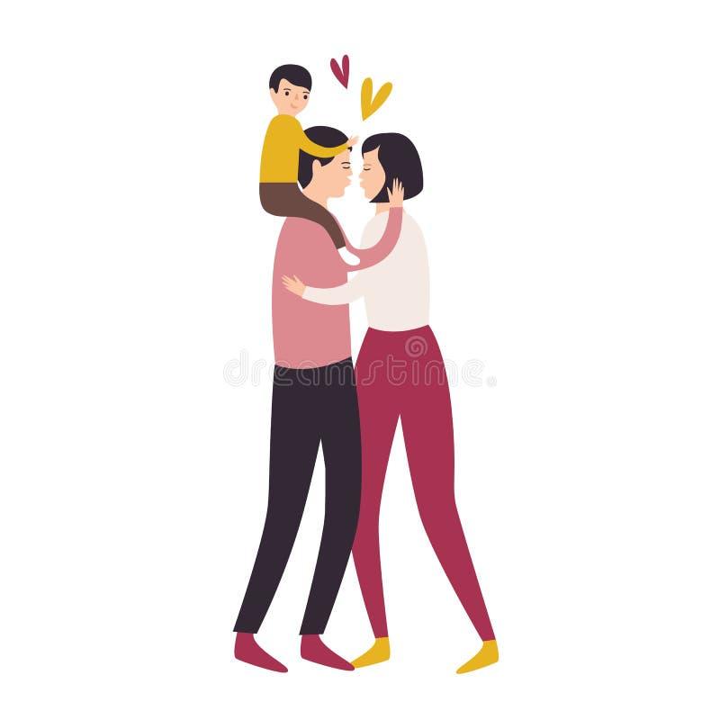 系列爱 儿子坐父亲的后面,当亲吻时他的父母拥抱和 妈妈、爸爸和孩子 可爱的舱内甲板 库存例证