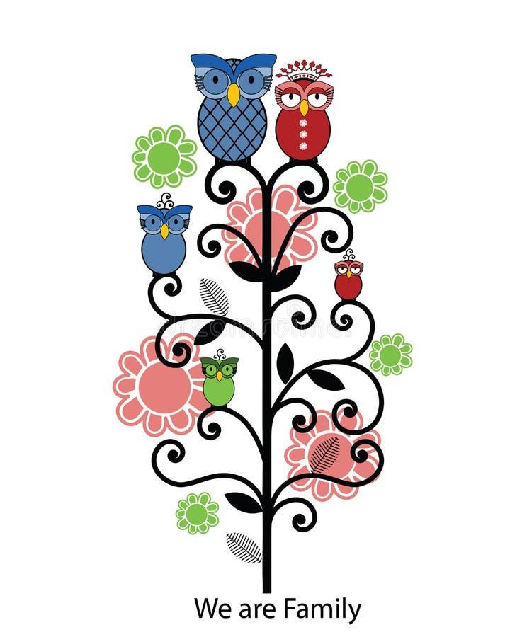 系列猫头鹰结构树 库存例证