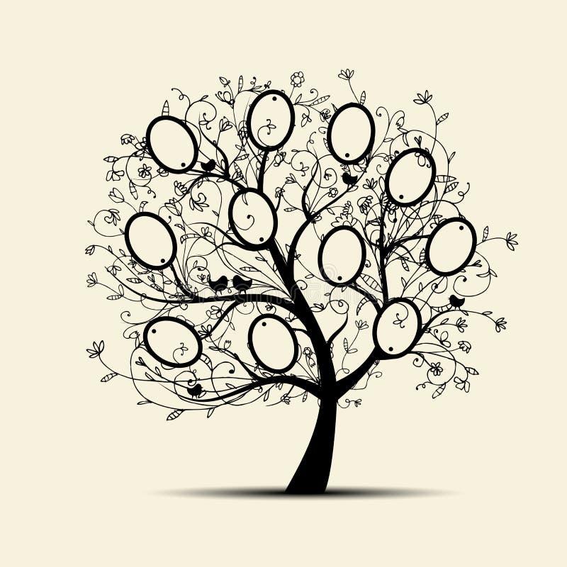 系族树设计,插入您的照片到框架 皇族释放例证