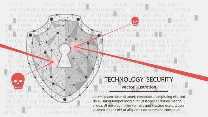 系统保护 网络安全概念:在数字资料背景的盾 也corel凹道例证向量 向量例证