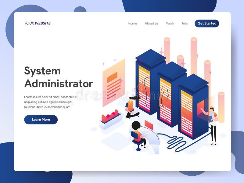 系统管理员等量例证概念登陆的页模板  网页设计的现代设计概念网站的 皇族释放例证