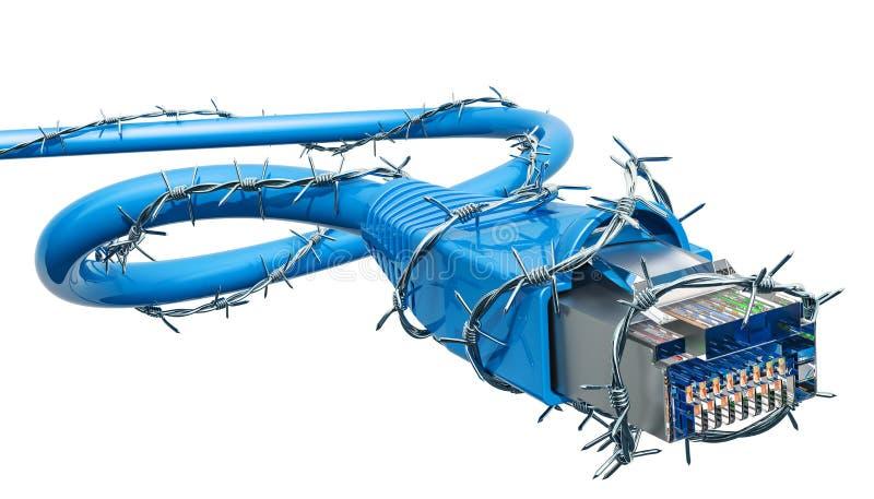 系统计算机与铁丝网的lan缆绳 3d翻译 皇族释放例证