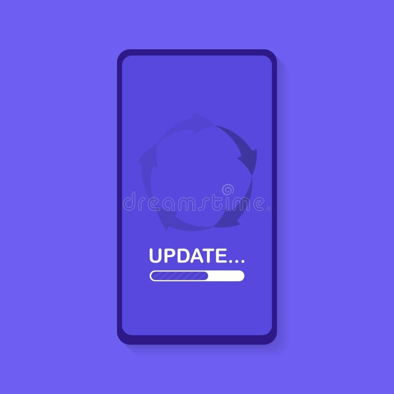 系统软件更新和升级概念 在巧妙的电话屏幕的装载过程 例证现代向量 皇族释放例证
