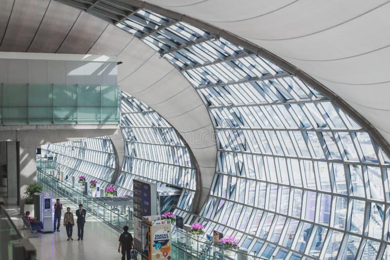 素万那普机场,曼谷,泰国内部细节  免版税库存照片