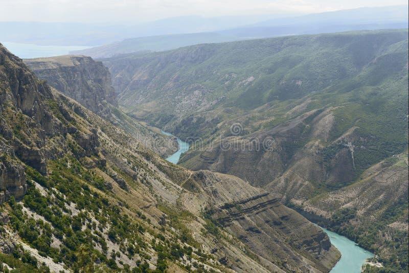 素拉峡谷在达吉斯坦,一最深在世界上 库存照片