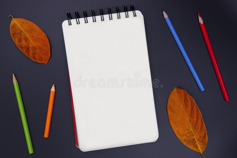 素描便笺簿空白页,铅笔和秋天在黑,顶视图照片生叶 秋季艺术爱好横幅背景 免版税库存图片