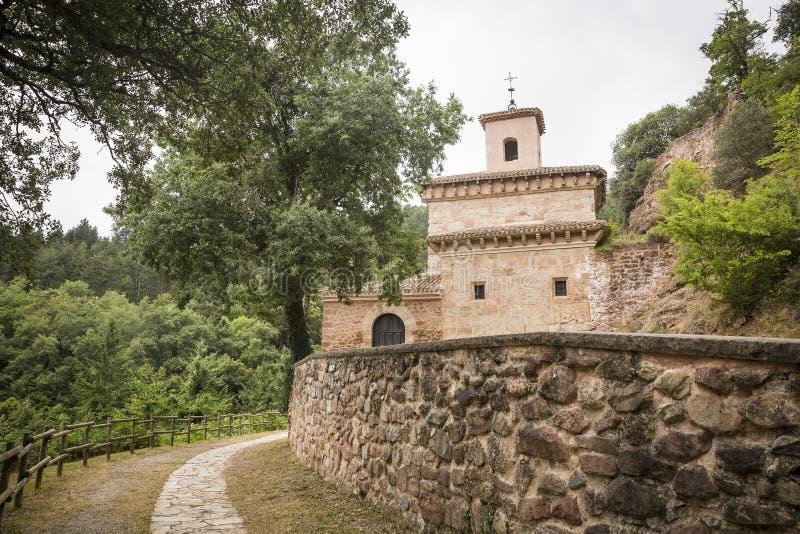 素索修道院在圣米连de la Cogolla,拉里奥哈,西班牙 库存照片
