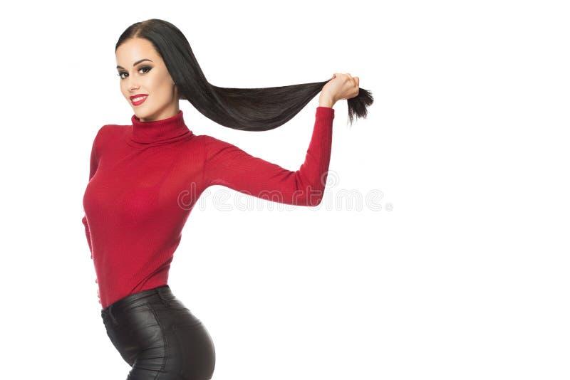 素雅的黑发女装 免版税库存图片