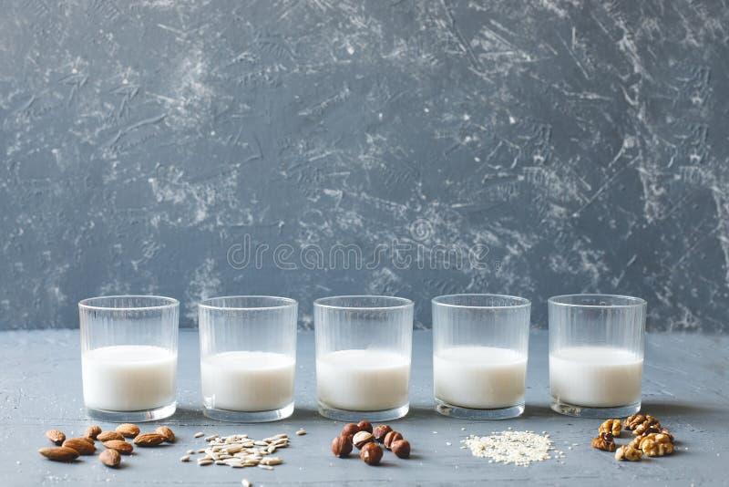 素食主义者不含乳制品的牛奶的不同的类型在玻璃的在与拷贝空间的木背景 免版税库存照片