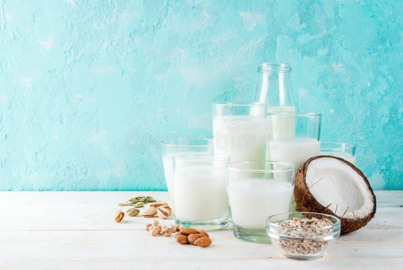 素食主义者供选择的不含乳制品的牛奶 库存照片