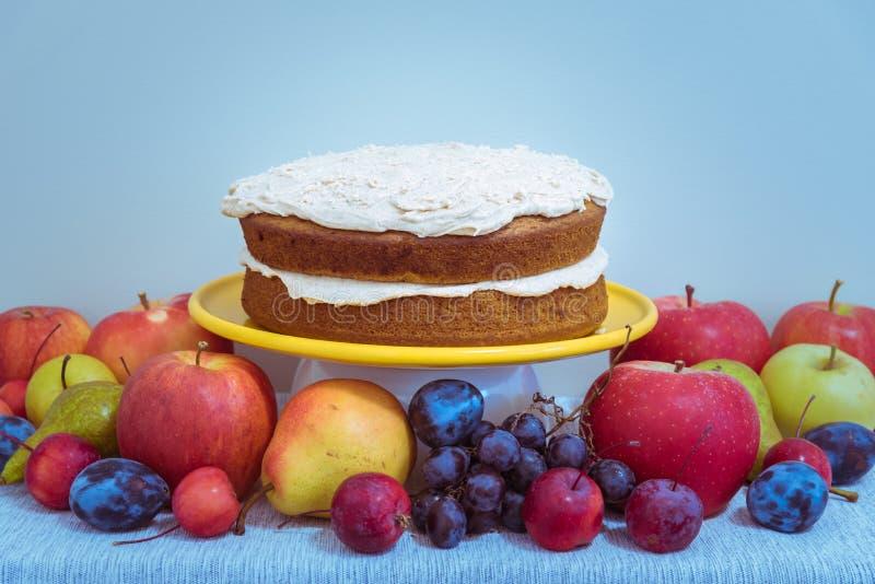 素食主义者南瓜香料在桌上的夹心蛋糕用有机果子 图库摄影