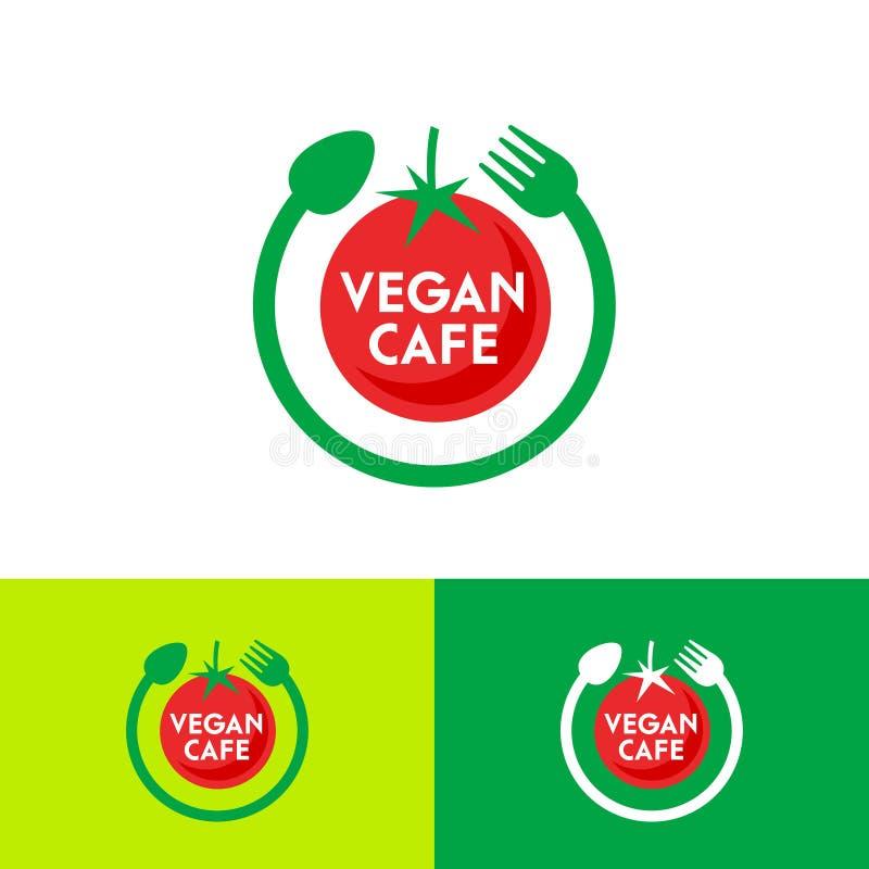 素食主义者咖啡馆商标 成熟红色蕃茄、叉子和匙子在圈子 向量例证