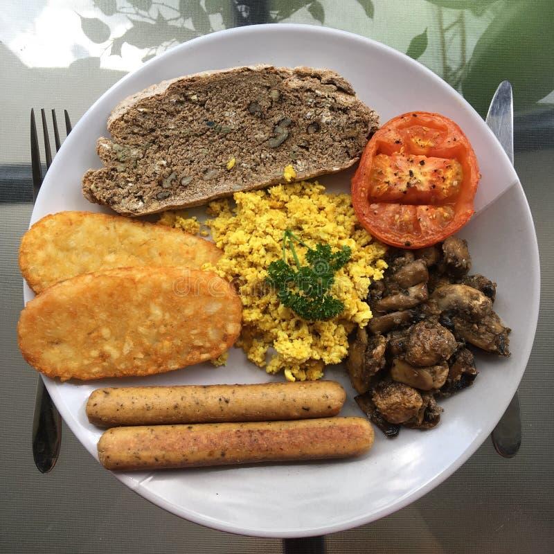 素食主义者煮熟的早餐 免版税图库摄影