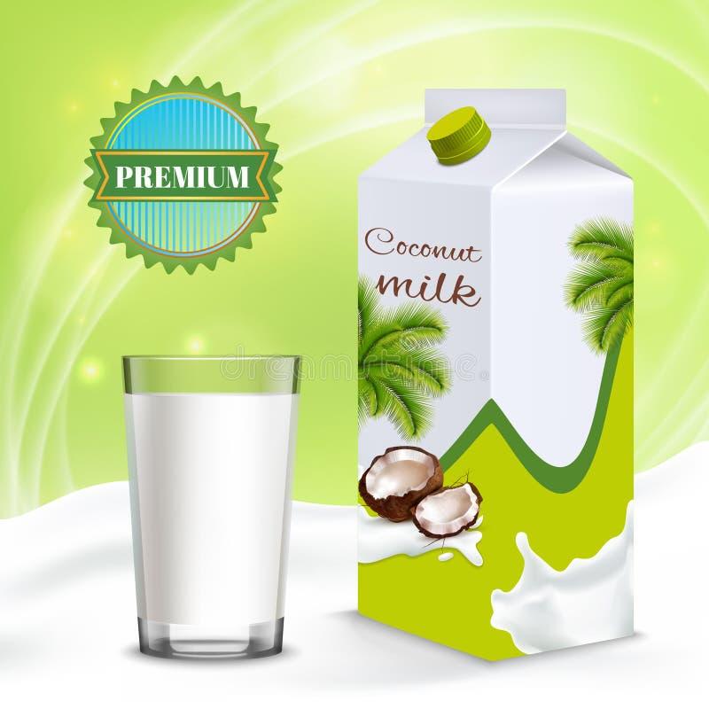 素食主义者牛奶现实构成 向量例证
