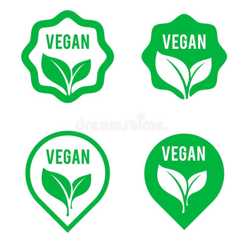 素食主义者绿色为素食主义者产品商店标记设置的商标贴纸、素食标签或者横幅和海报 设置泡影,贴纸,实验室 皇族释放例证