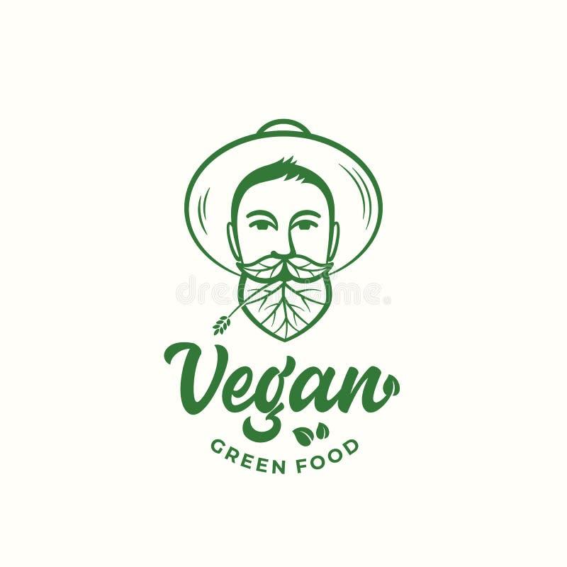 素食主义者绿色食物抽象传染媒介标志、标志或者商标模板 花匠帽子的年轻人 与被合并的叶子的面孔 皇族释放例证