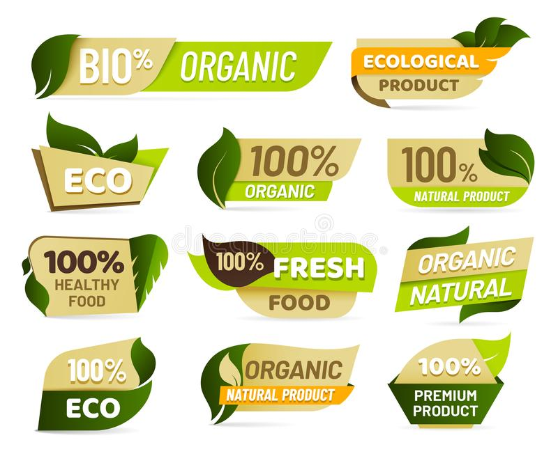 素食主义者象征 新自然产品徽章、健康素食食品贴纸和自然生态食物标签 向量例证