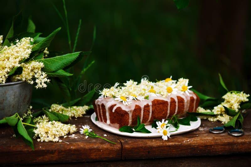素食主义者elderflower蜂蜜柠檬毛毛雨蛋糕 免版税库存照片