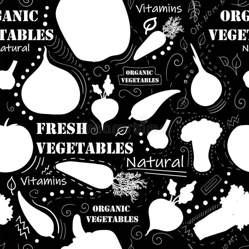 素食无缝的样式用红萝卜,蕃茄,萝卜,绿豆,抽象元素 五颜六色的现代背景 ? 皇族释放例证