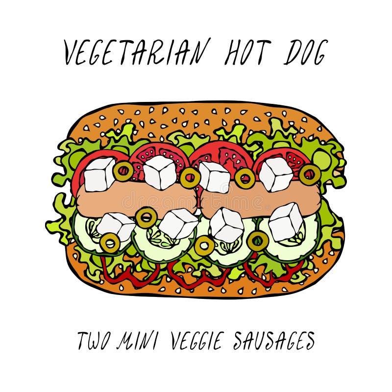 素食热狗,素食者香肠,希腊希脂乳,黄瓜,佳丽胡椒,蕃茄,橄榄,莴苣沙拉,芝麻籽 快餐 再 向量例证