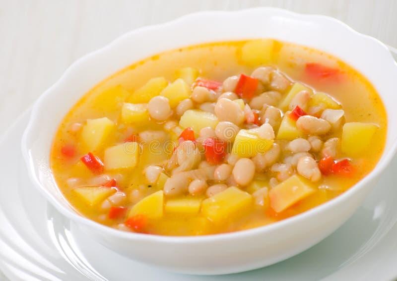 素食白豆汤 免版税库存照片