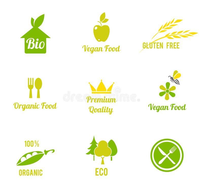 素食食物标志 有机食品,种田新鲜 向量例证